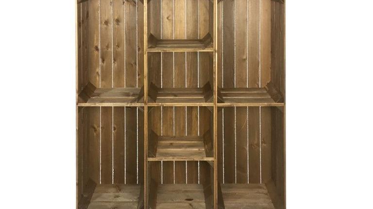 Wide 8 Mobile Brown Crate Display