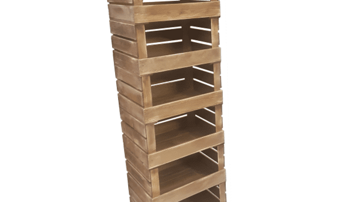 6 Crate Rustic Mobile Tower Storage Unit