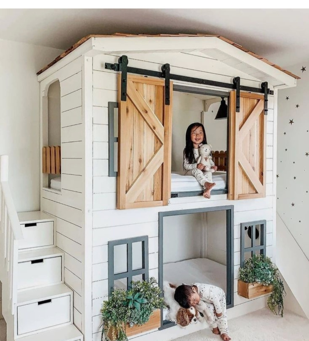 Kids play house bunk bed