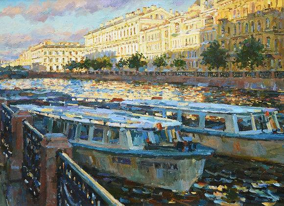 """Павел Еськов, """"Катера на Мойке. Утро"""""""