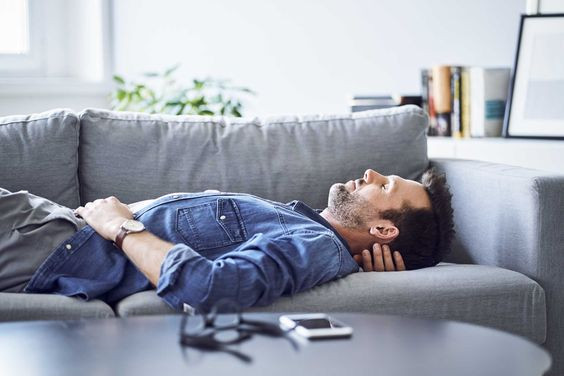 man resting at home