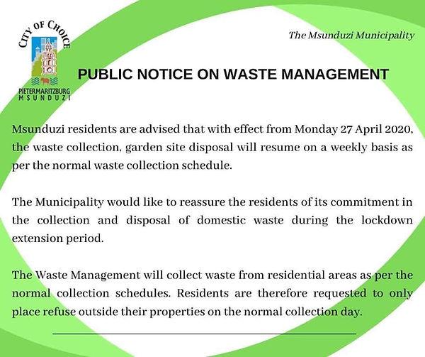 Public Notice on Waste Management April