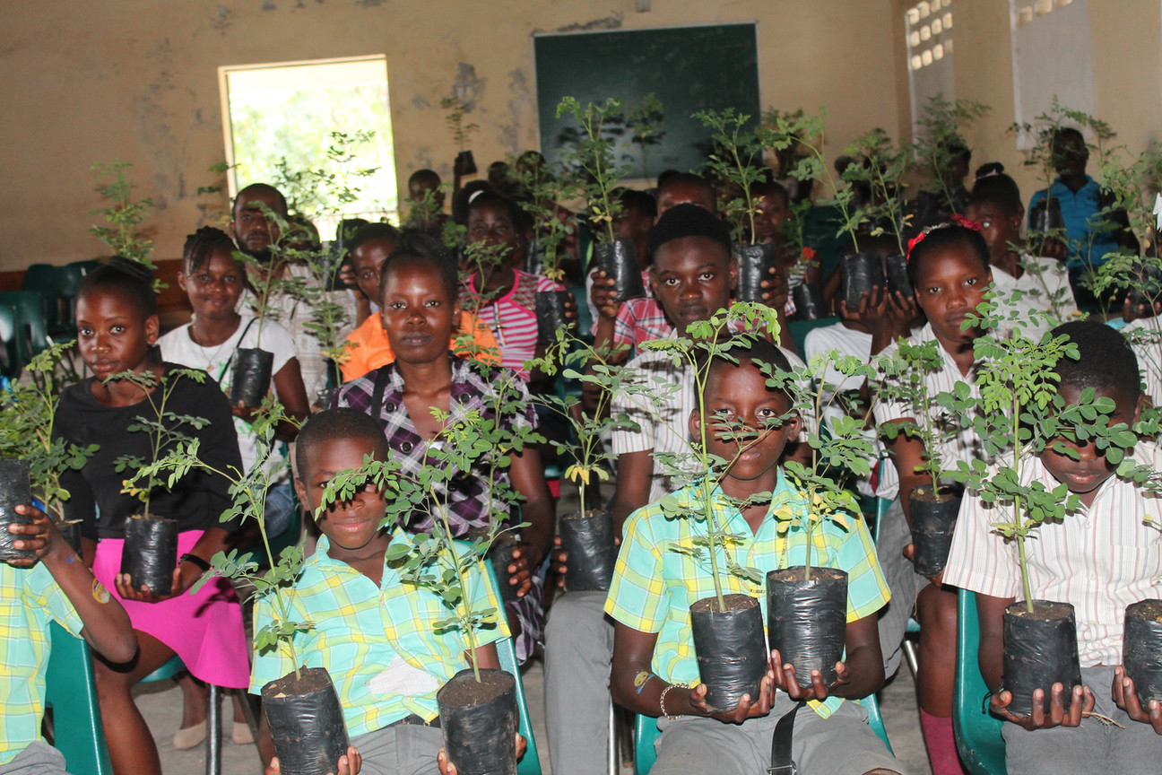 Labor Day event with school children tree distribution