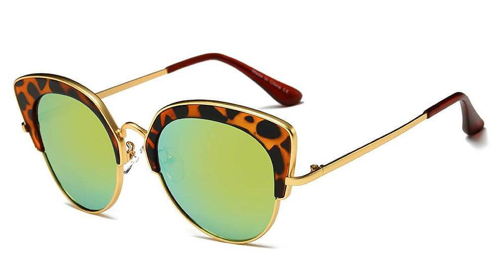 CATOOSA | CD08 - Women Half Frame Round Cat Eye Sunglasses Circle
