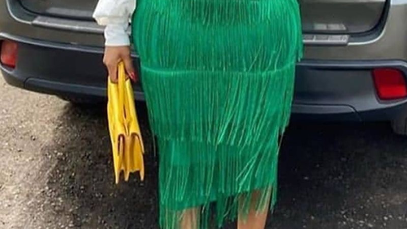Green Fringe  Pencil Skirts Tassel High Waist Women Stretch Sheath Plus Size