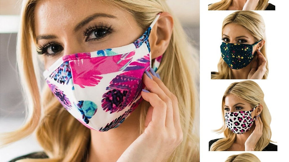 1PC Cycling Face Mask Printed Washable Cotton Protective Breathable