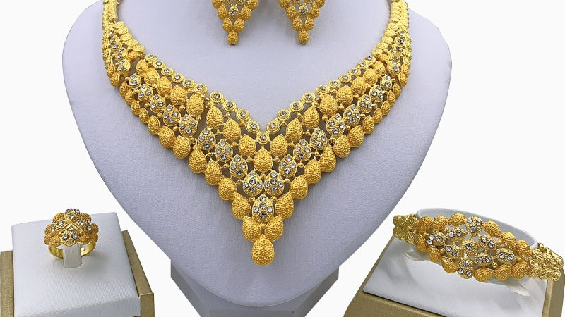 Fashion Charm African Bridal Earrings Ring Drop Jewelry Sets