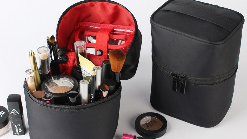 Travel Barrel Shaped Makeup Organizer Female Cosmetic Toiletry Case