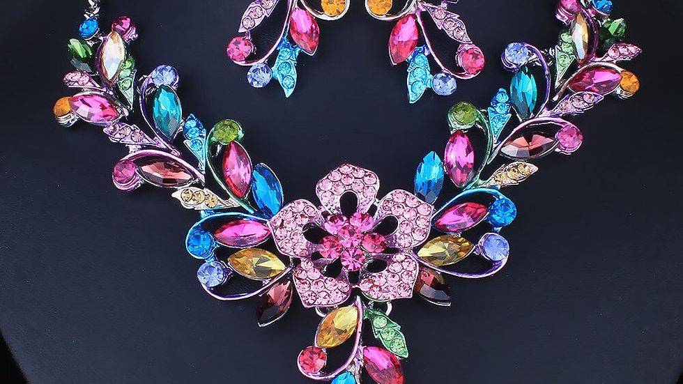 FARLENA Wedding Jewelry Hand Painted Flower Vine  for Women Fashion  Jewelry Set