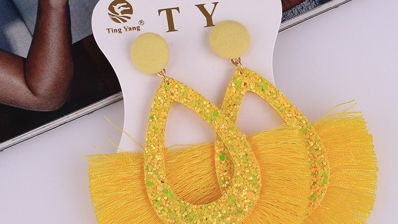 Fashion Jewelry Fringe Tassel Earrings Yellow Fashion Sequins Ladies Earrings