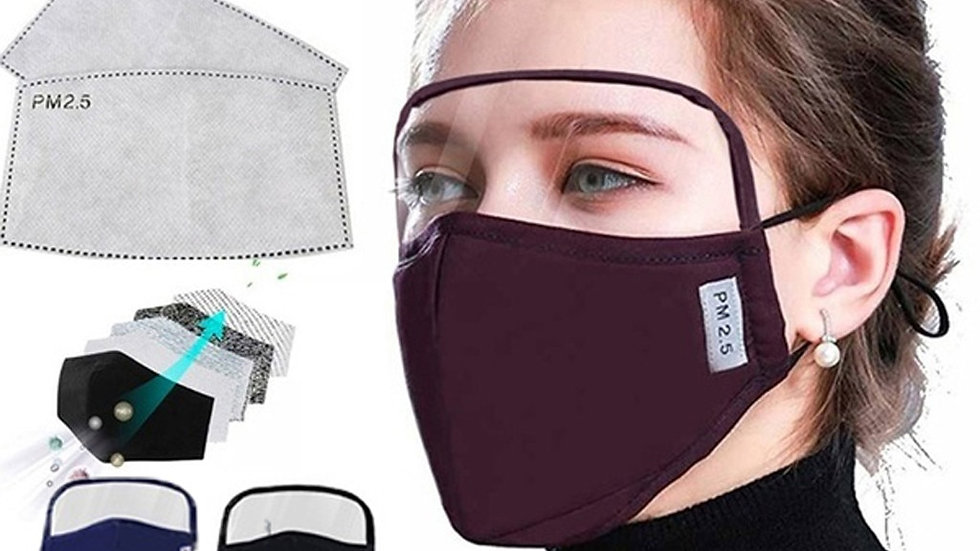 Mask With Eyes Shield + 2 Filters Windproof Adult Breathable Mask