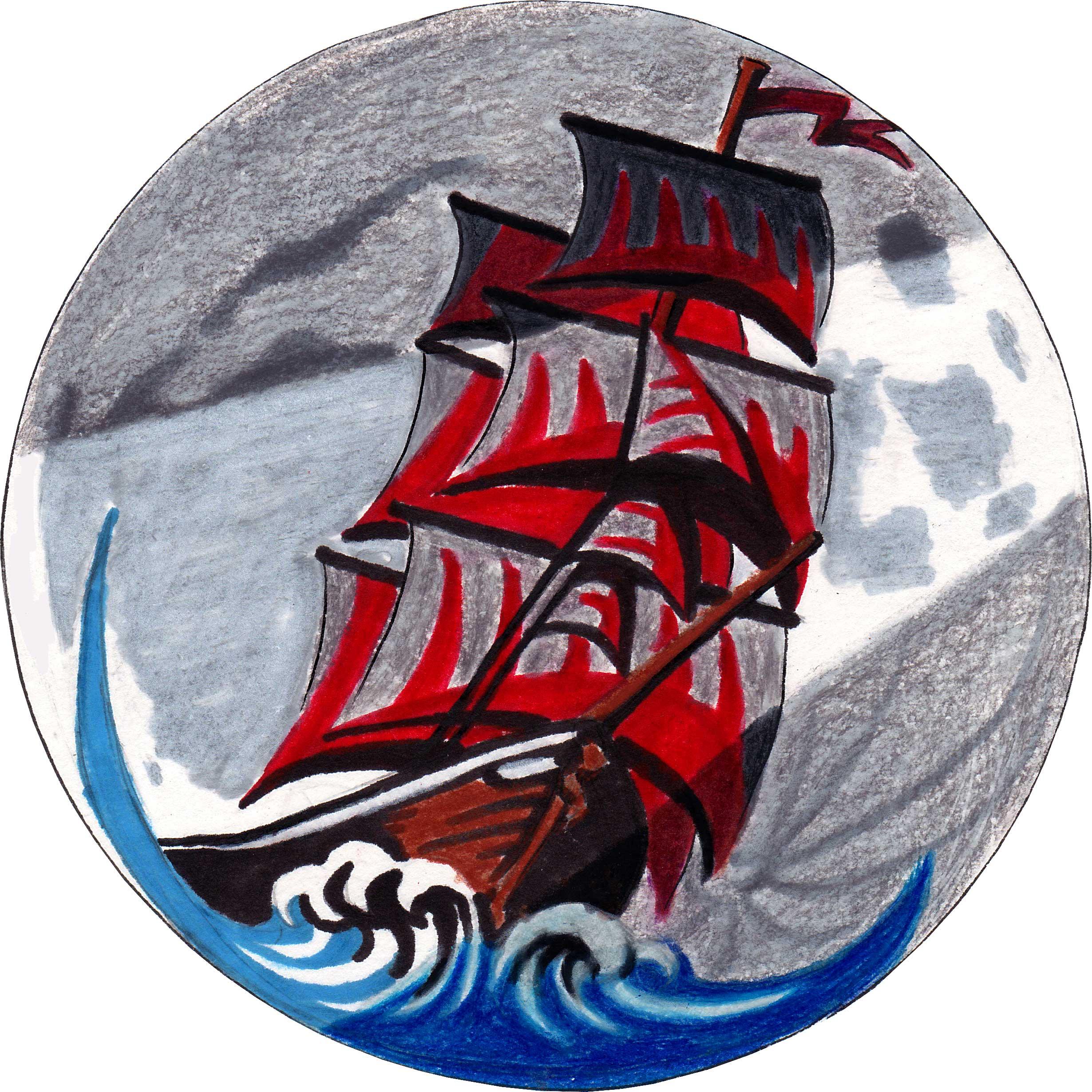 Ship on Sea Concept Logo