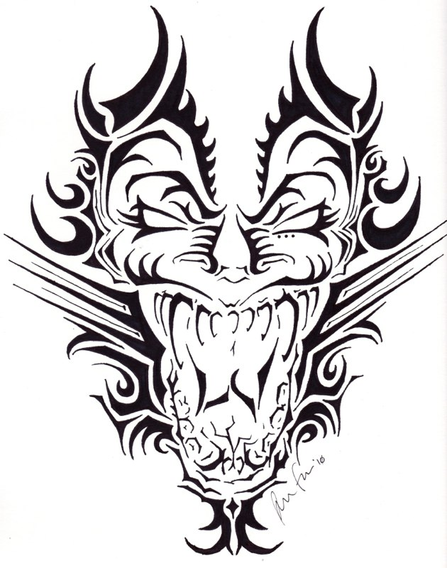 Dragon Face Tattoo Design