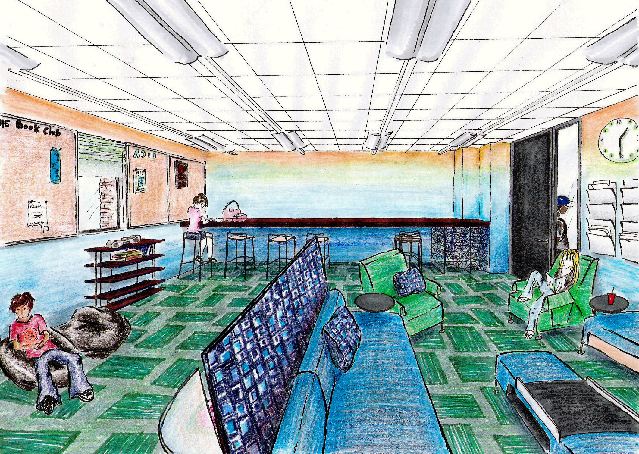 College Student Lounge Rendering