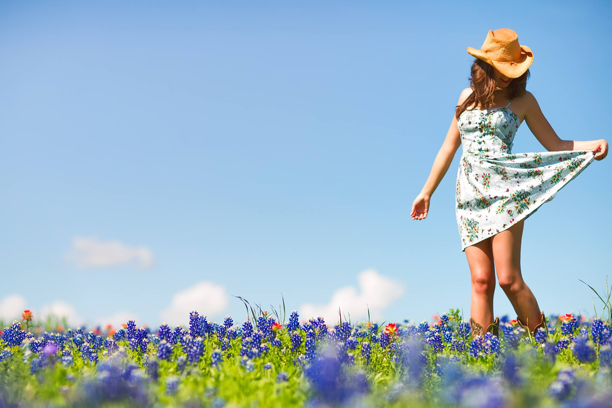 Reema Yeager Modeling Bluebonnets