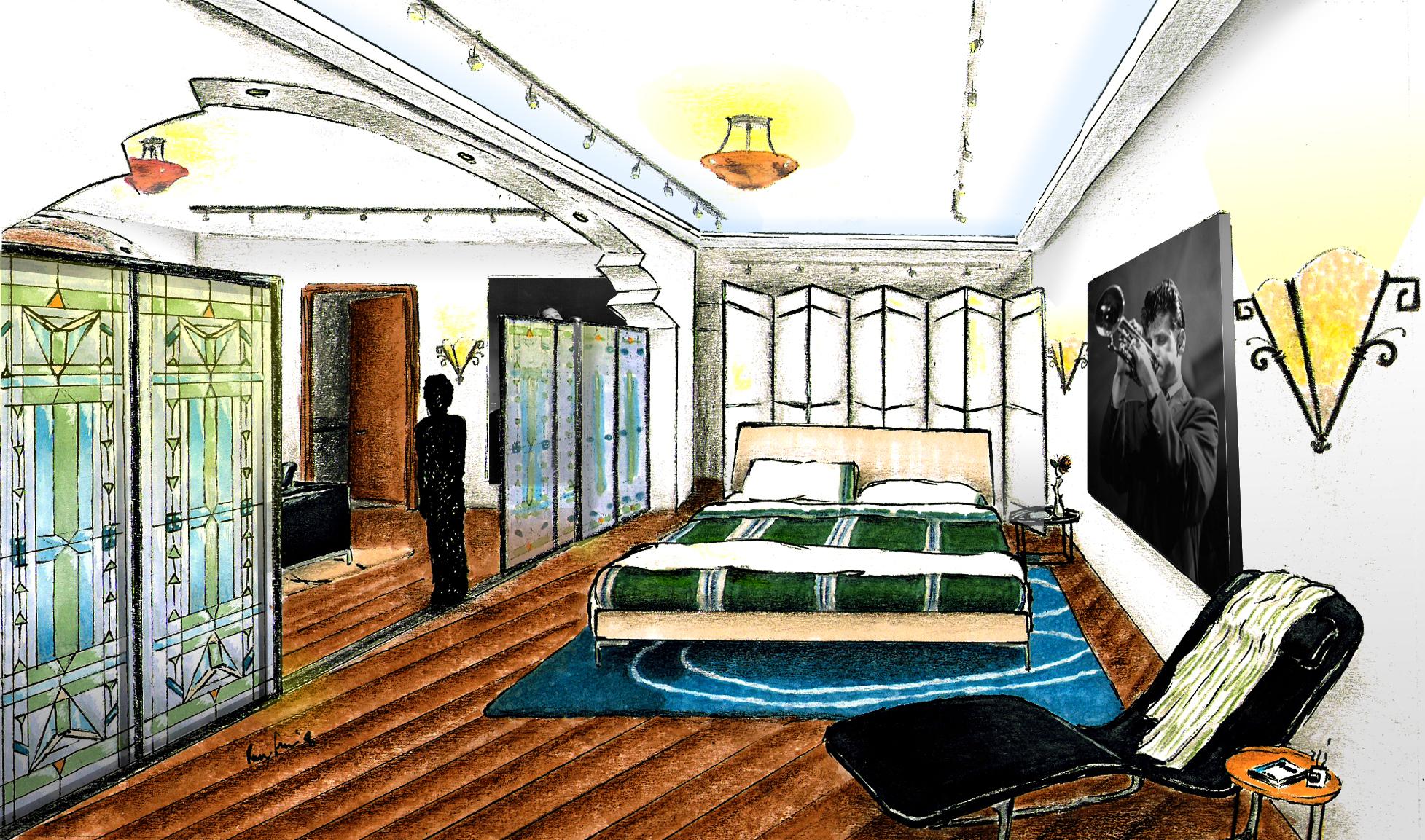 Art Deco Bedroom Rendering