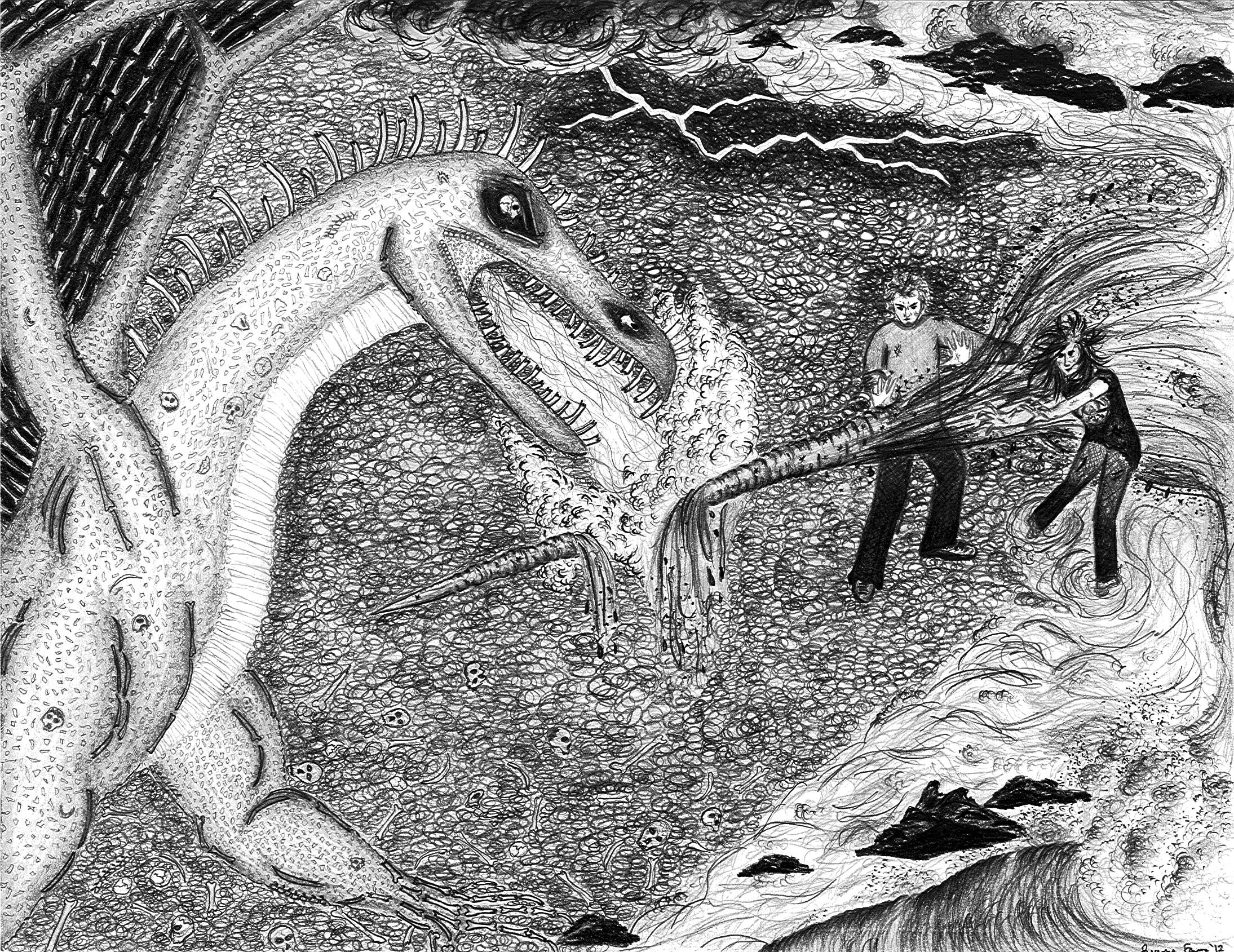 Magic Dragon Battle Illustration
