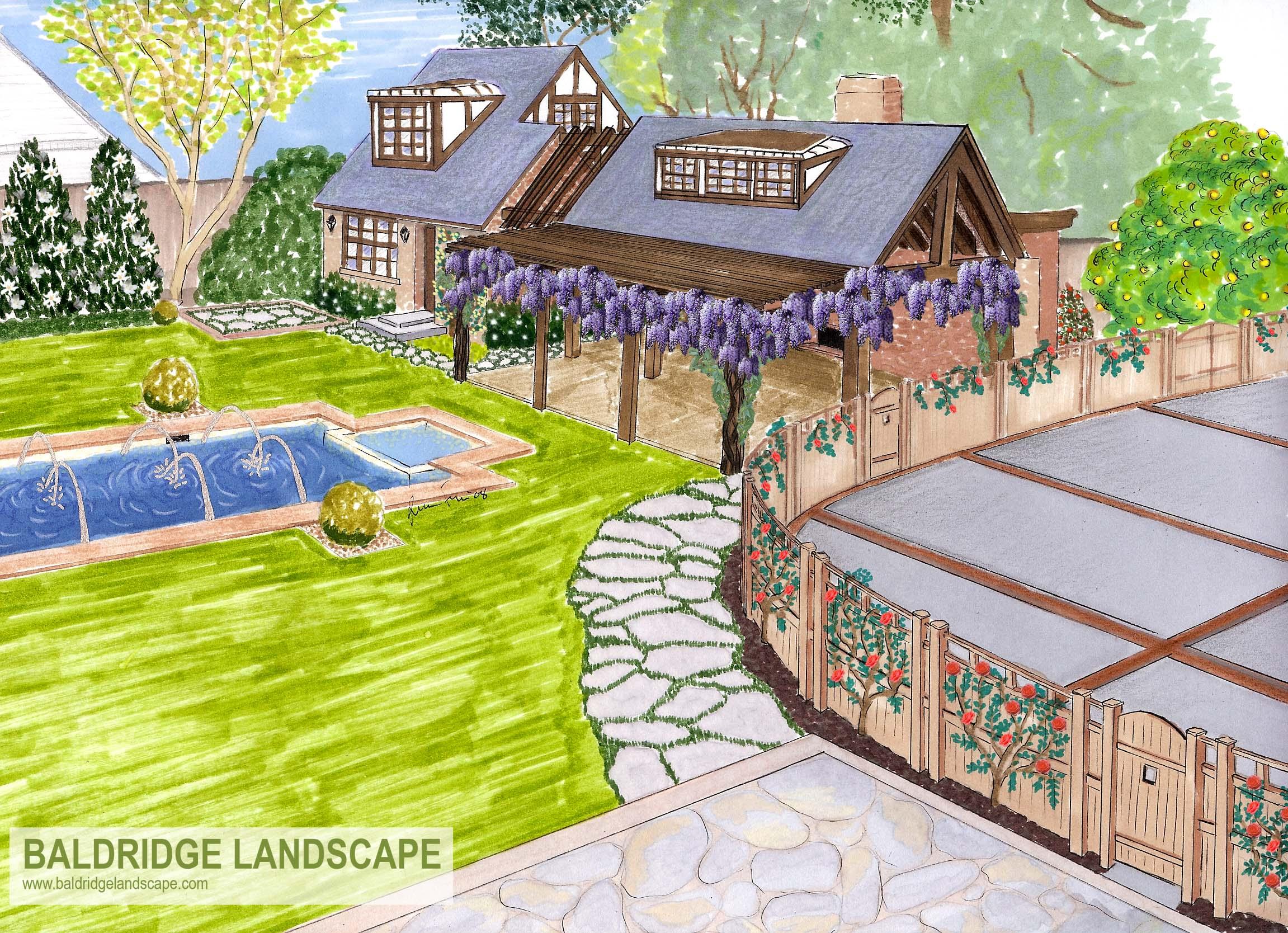 Pool & Cabana Landscape Rendering