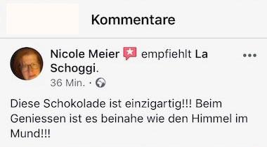 Wie  schmeckt La Schoggi? Sehen Sie hier, was Kund/innen über ihren LaSchoggi-Genuss sagen...