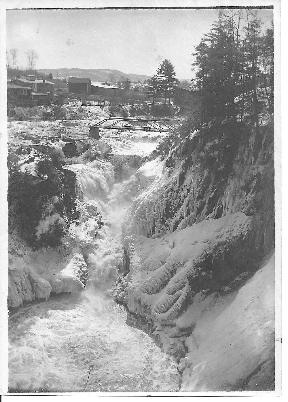Dionondahowa Falls from the Easton side looking toward the Stevens & Thompson Paper Mill