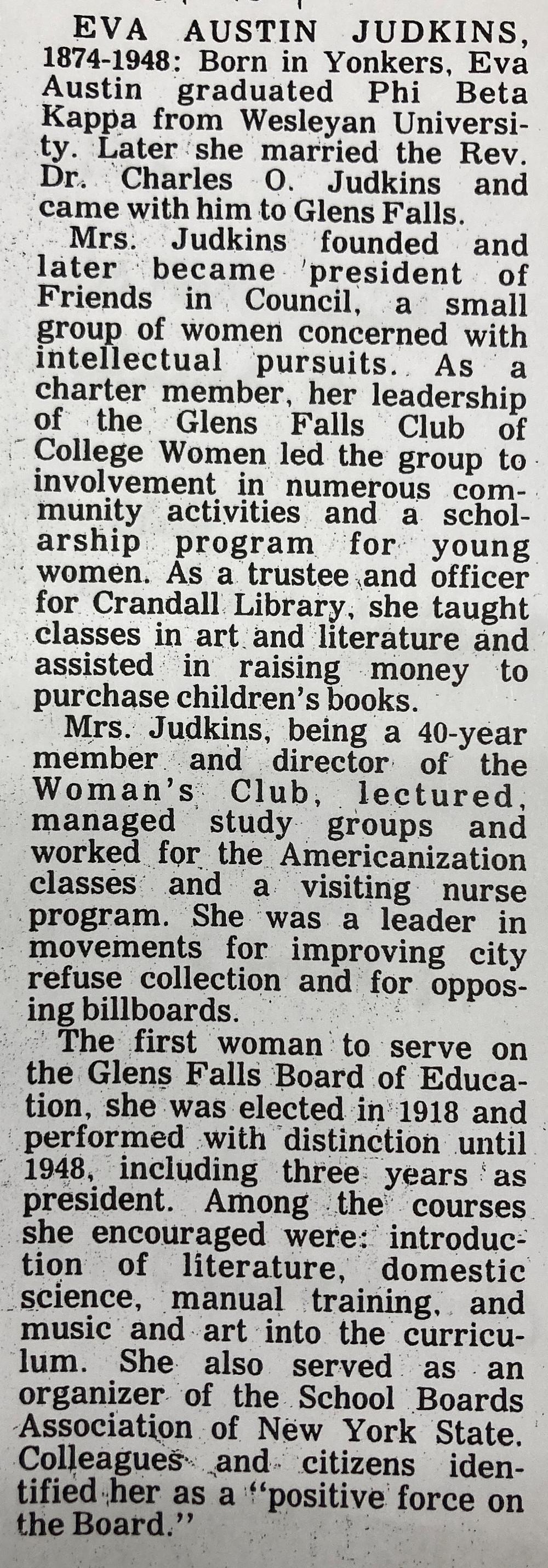 Glens Falls Hall of Fame Bio of Eva Austin Judkins <The Post-Star, Glens Falls, NY May 10, 1984>