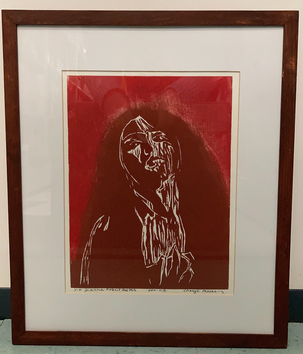 Jeanne Robert Foster, part of the Women of the Adirondacks : woodcut portraits by Cheryl Mirer. One of Fifteen framed portraits of women of the Adirondacks by artist Cheryl Mirer. (Folklife Center at Crandall Public Library)