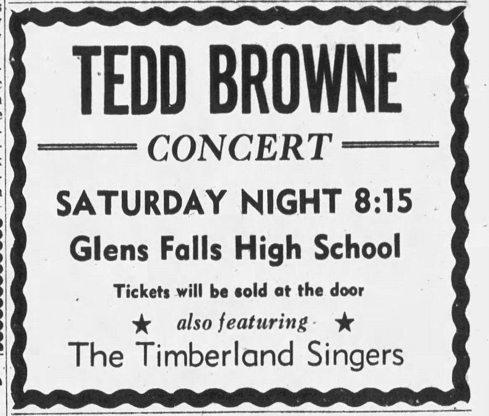Advertisement for a concert fundraiser Tedd Browne performed at. (The Post-Star November 19, 1964)
