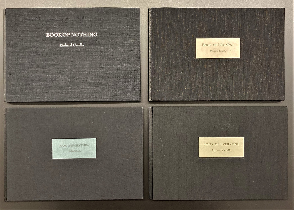 Four limited edition books cloth bound in black with poems by Richard Carella, printed by Robert Walp of Chester Creek Press (Folklife Center at Crandall Public Library)