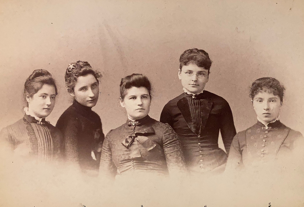 Five women in late Victorian style dress. L to R: Louise Fenton, Estella Cronin, Blanche Griffin (later Mrs. Lyman Jenkins), Lillian Pepper, Lottie Amer, Training Class, 1887. (CLP0110, Folklife Center at Crandall Public Library)