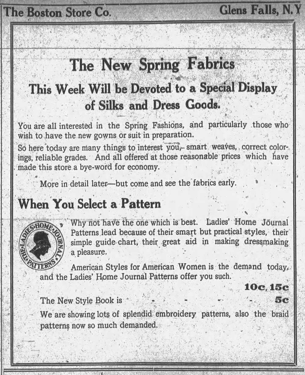 The Boston Store Co. advertised embroidery patterns throughout the early 20th century. Post-Star (Glens Falls, NY) March 15, 1910.