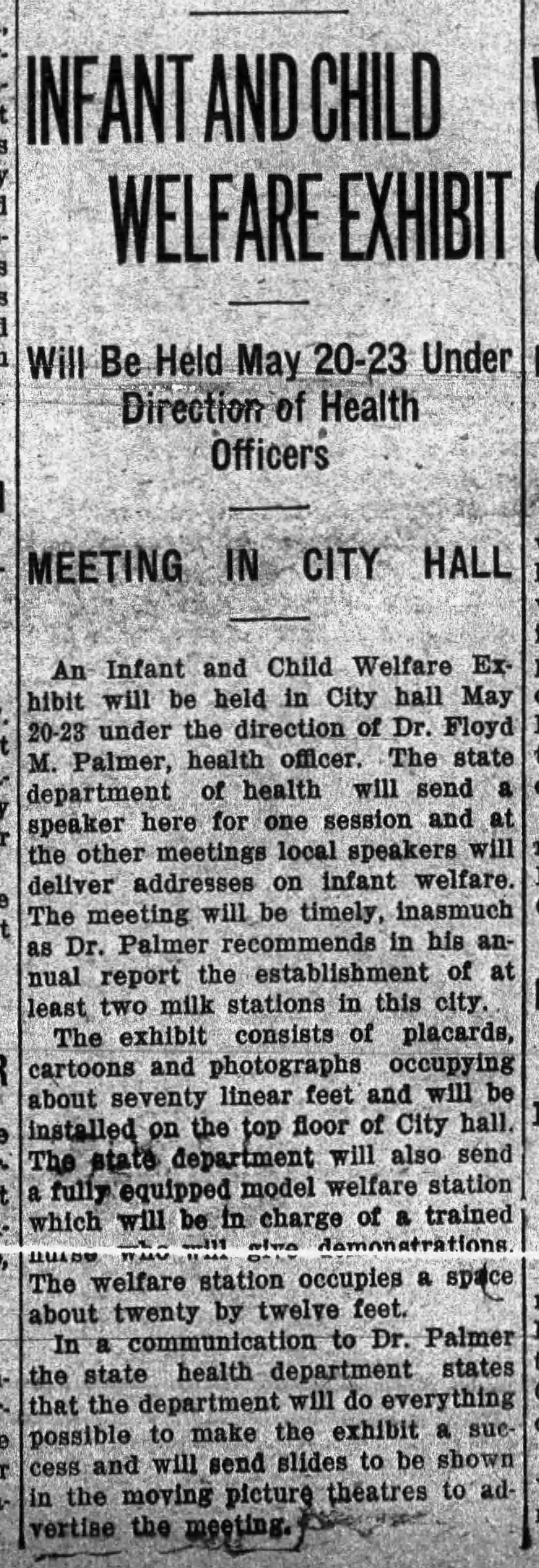 """The Post-Star, Tuesday, May 5, 1914 newspaper article """"Infant and Child Welfare Exhibit"""" to be held May 20-23, 1914 in Glens Falls, NY."""