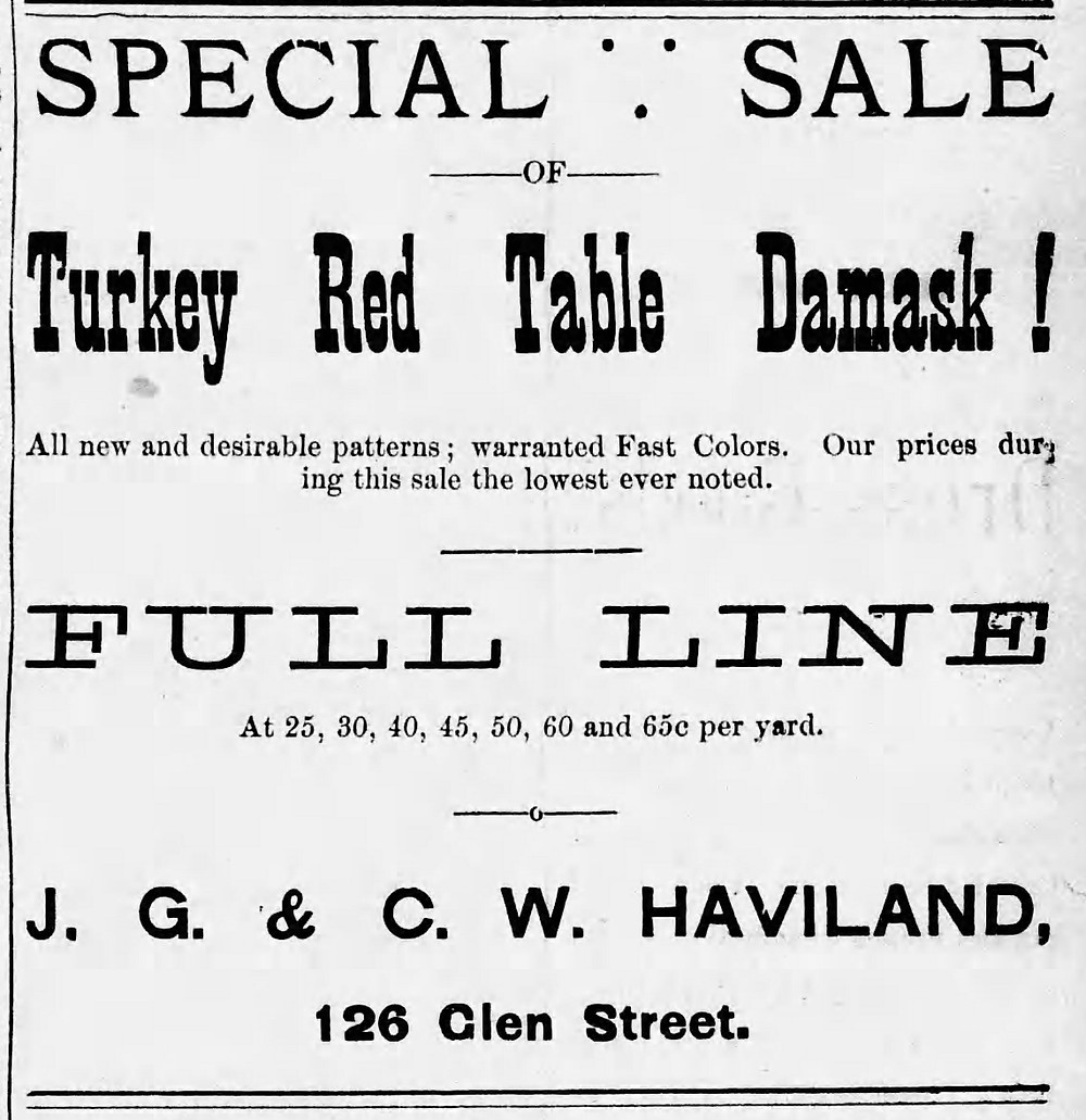 """Advertisement featuring """"Turkey Red"""" & """"Fast Colors"""". The Morning Star (Glens Falls, NY) March 1, 1888"""