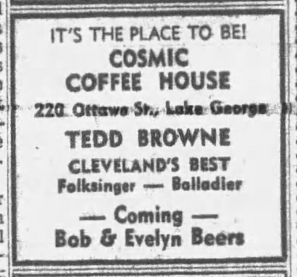 Advertisement for Tedd Browne at Cosmic Coffee House in Lake George, NY, Post-Star July 12, 1963.