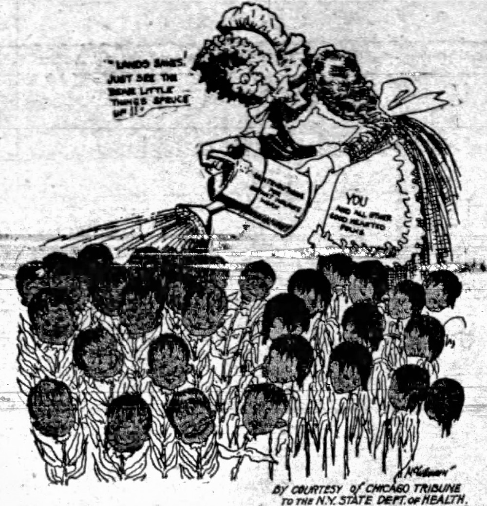 """""""You and all other good hearted people"""" are watering the babies so """"little things spruce up"""". Political Cartoon, Post-Star, May 14, 1914"""