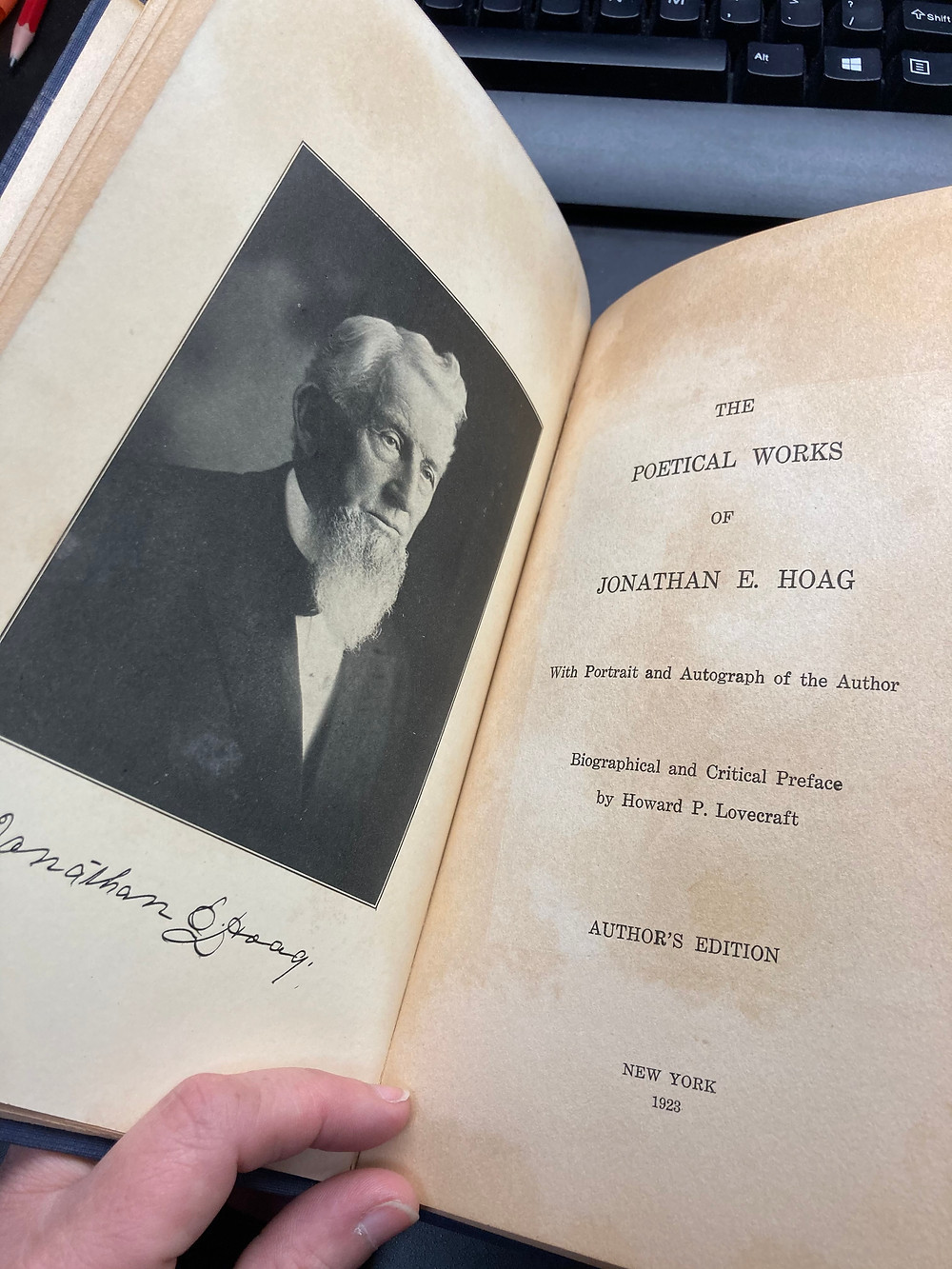 The Poetical Works of Jonathan Elihu Hoag with Introduction by HP Lovecraft (1923) <Holden Collection, The Folklife Center at Crandall Public Library>
