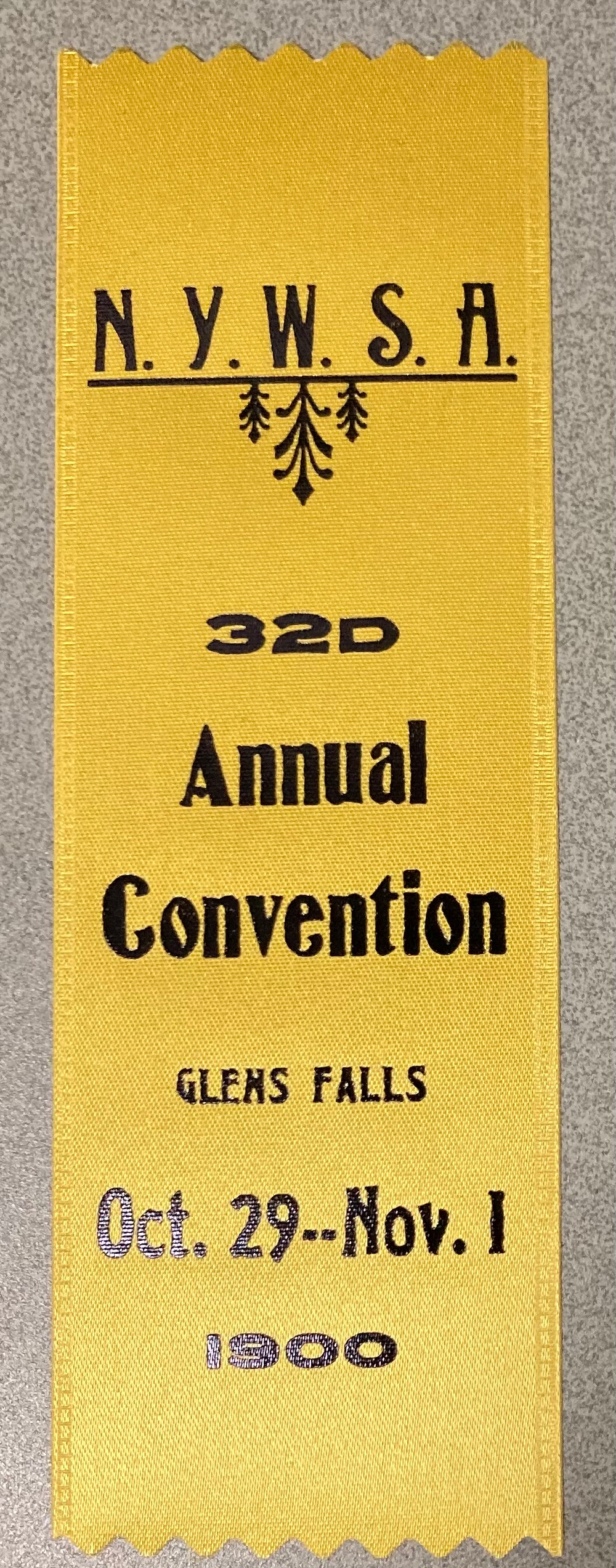 NYWSA ribbon from the 1900 Glens Falls convention, reproduction (Folklife Center at Crandall Public Library)