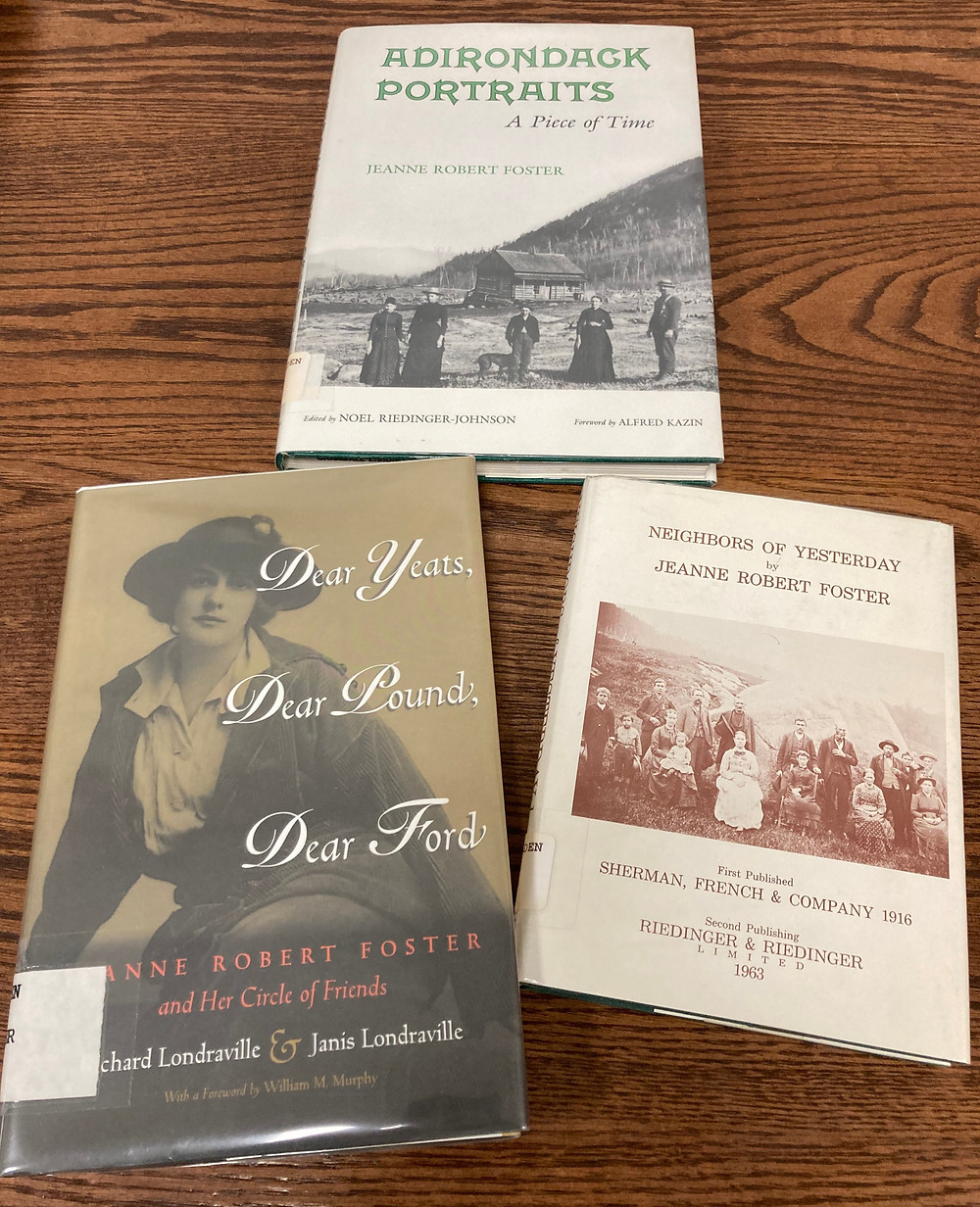 Books by & about poet Jeanne Robert Foster (Holden Collection, Folklife Center at Crandall Public Library)