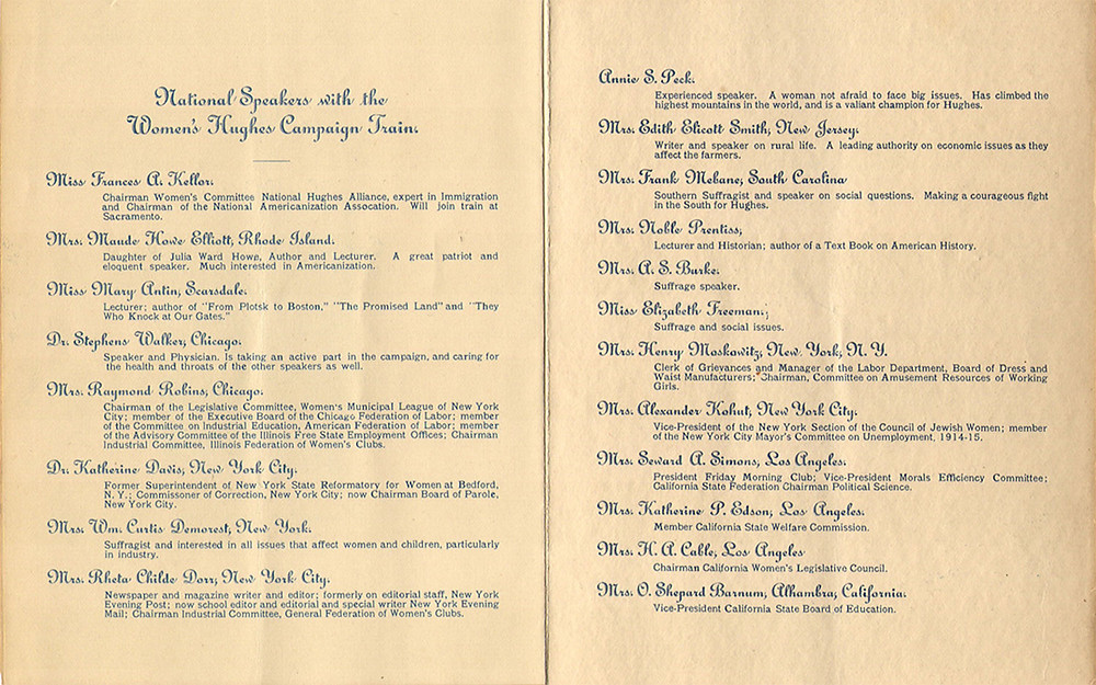 Program of featured speaker on the Women's Hughes Campaign Train for Charles Evans Hughes' run for president of the United States in 1916. (The Elisabeth Freeman Project, https://elisabethfreeman.org/1916-hughes-womens-campaign-train/#gallery/9__357689335/140)