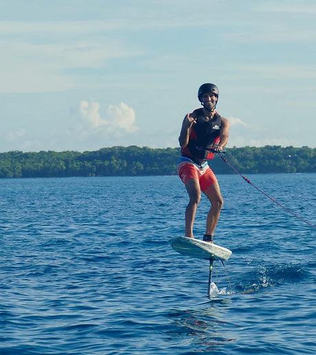 tow in hydrofoil session Philippines Siargao