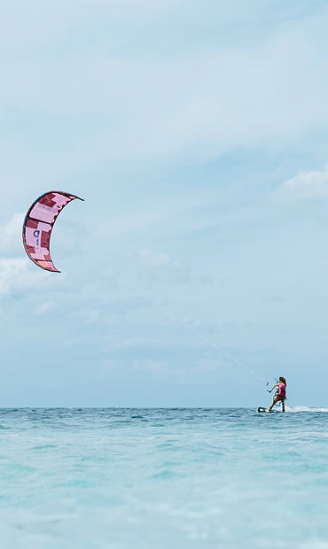 Kitesurfing board riding lesson