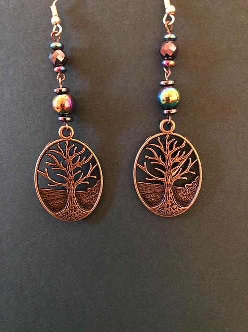 Hematite Tree of Life Earrings
