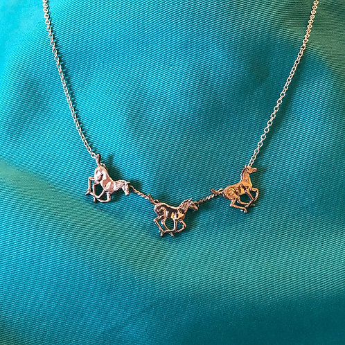 3 Foals Two-Tone Silver & Gold  Necklace