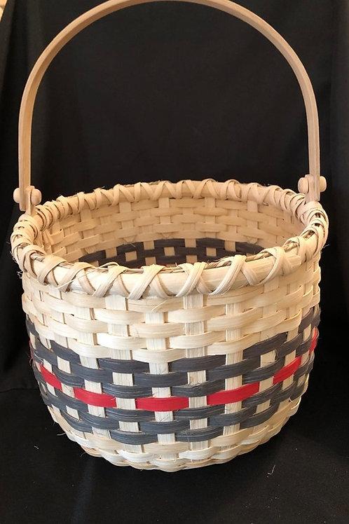 """Handmade Green / Red Round 10"""" Basket"""