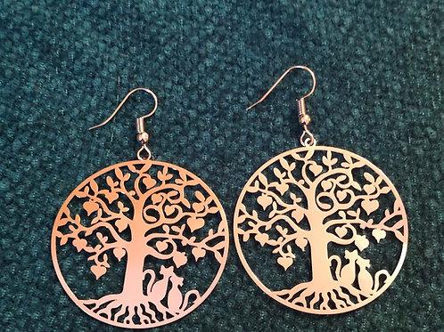 Silvertone tree earrings