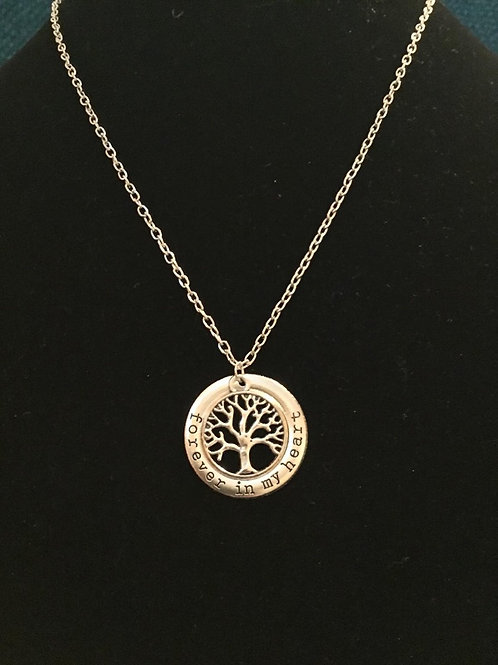 Silver Round Tree Message Necklace