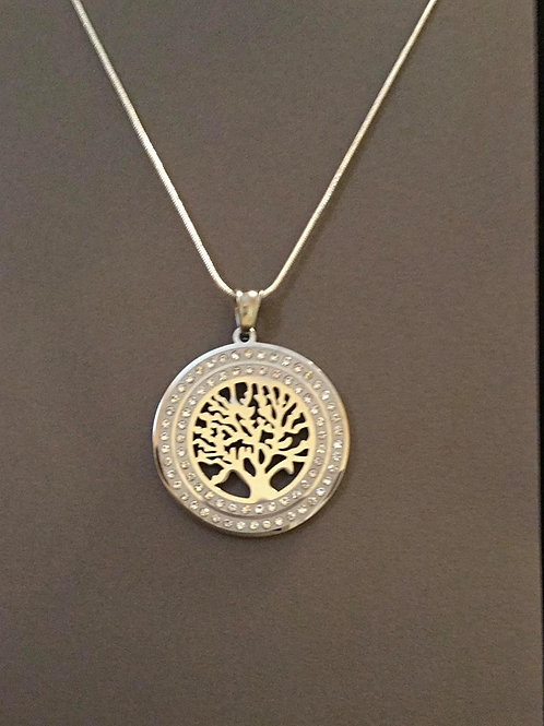Round Silvertone Tree of life