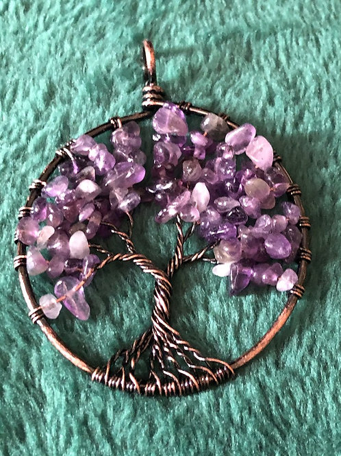 Tree of Life Necklace Purple