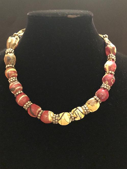 Beaded/Ribbon Tie Necklace