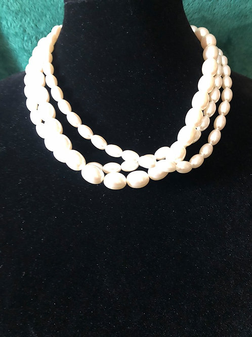 Faux Pearl 3 Strand Necklace