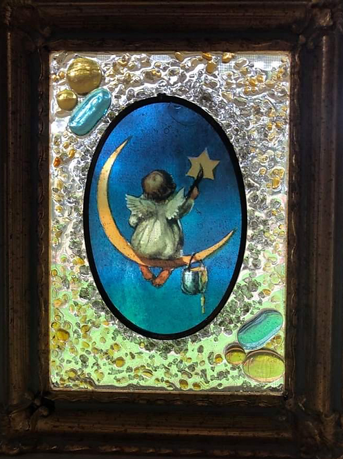"Mixed Media Art Picture ""Angel on the Moon"""